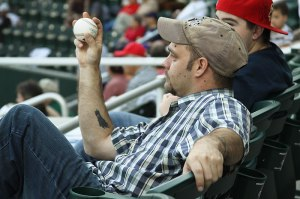 photo of man with foul ball
