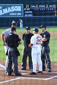 Photo of umps and managers at home plate