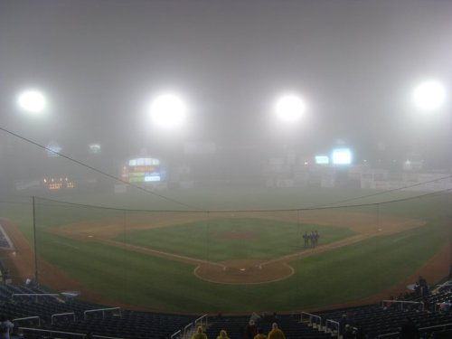Photo of Hadlock Field in fog delay