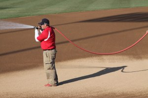 Man spraying the field