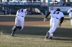 Photo of NH players running